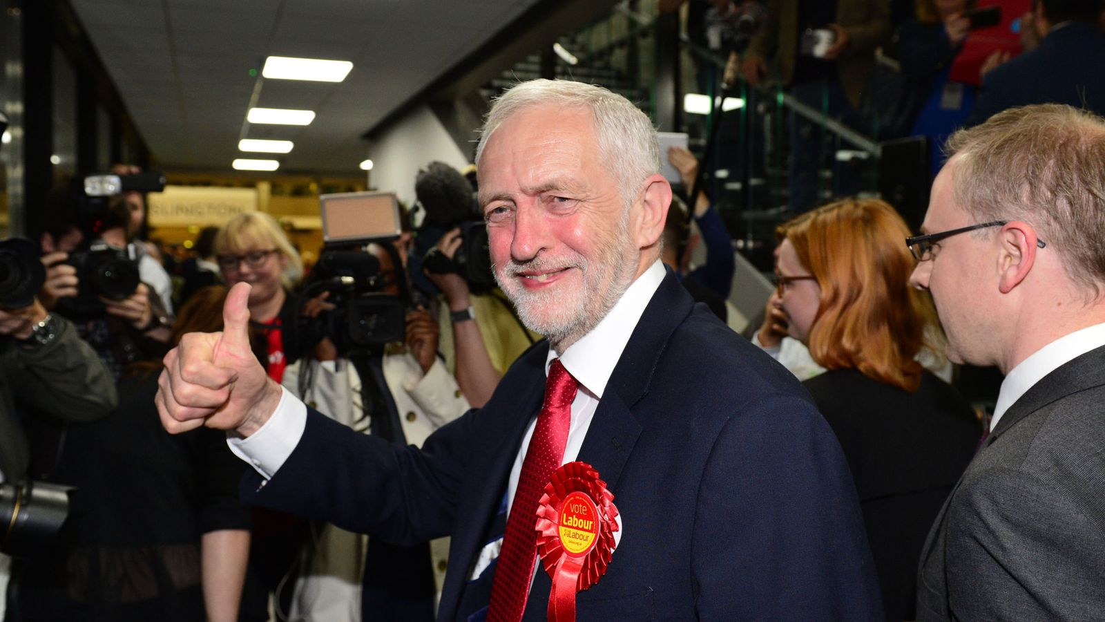 Jeremy Corbyn looks confident as he arrives for his count at Sobell Leisure Centre in Islington, north London