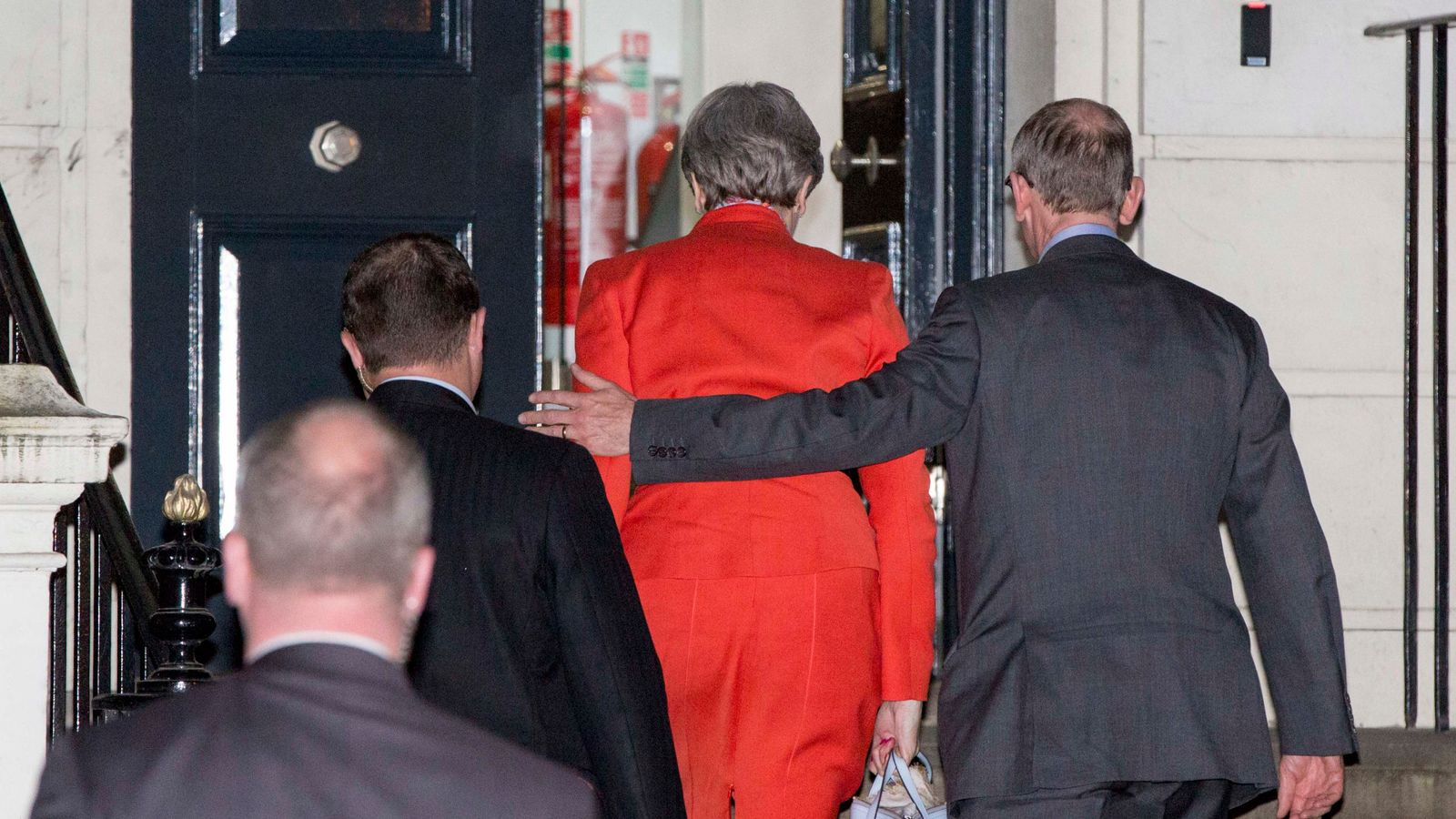 Theresa May and her husband Philip arrive at Conservative Party HQ in Westminster