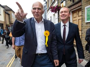 Sir Vince Cable on the campaign trail with former Lib Dem leader Tim Farron in Twickenham