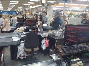 A supermarket in Kharkiv, Ukraine, hit by the cyberattack Credit: @golub