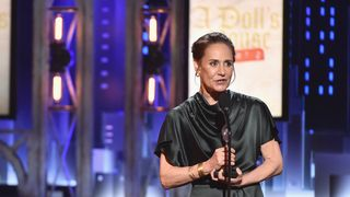"Laurie Metcalf accepts the award for Best Performance by an Actress in a Leading Role in a Play for ""A Doll's House, Part 2"""