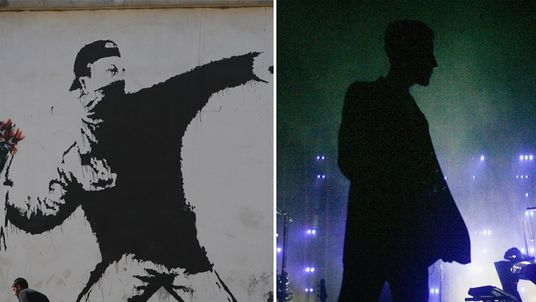 A Banksy mural in the West Bank and a picture of Robert del Naja during a show in Tetbury, England