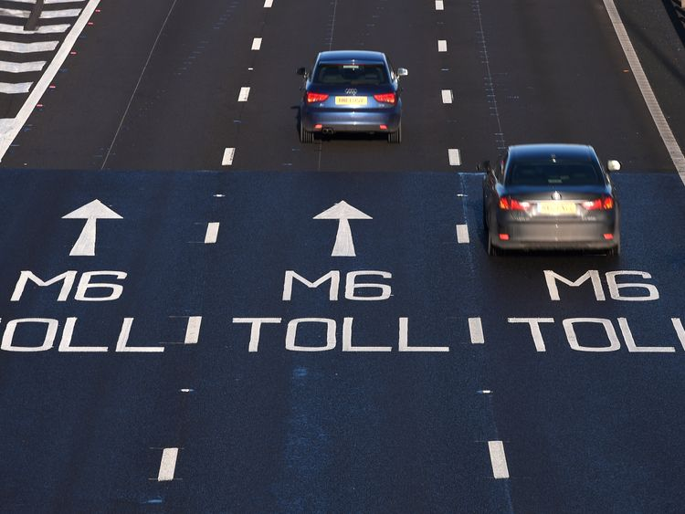 The start of the M6 toll at the Coleshill Interchange in Warwickshire