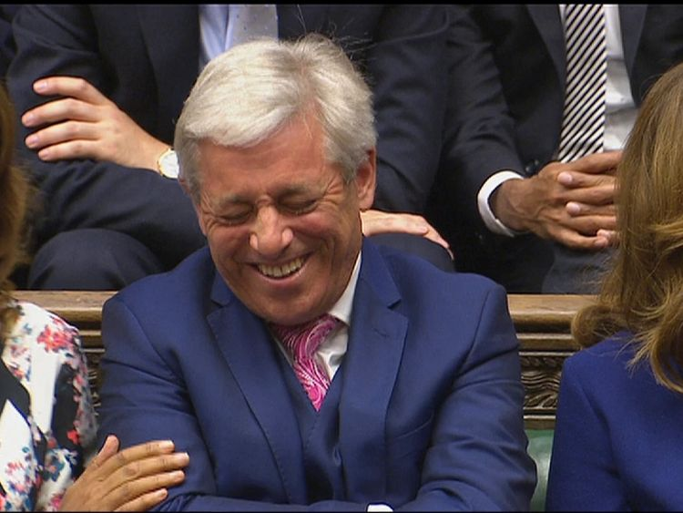 John Bercow laughs as a giddy Commons sits for the first time since hte election