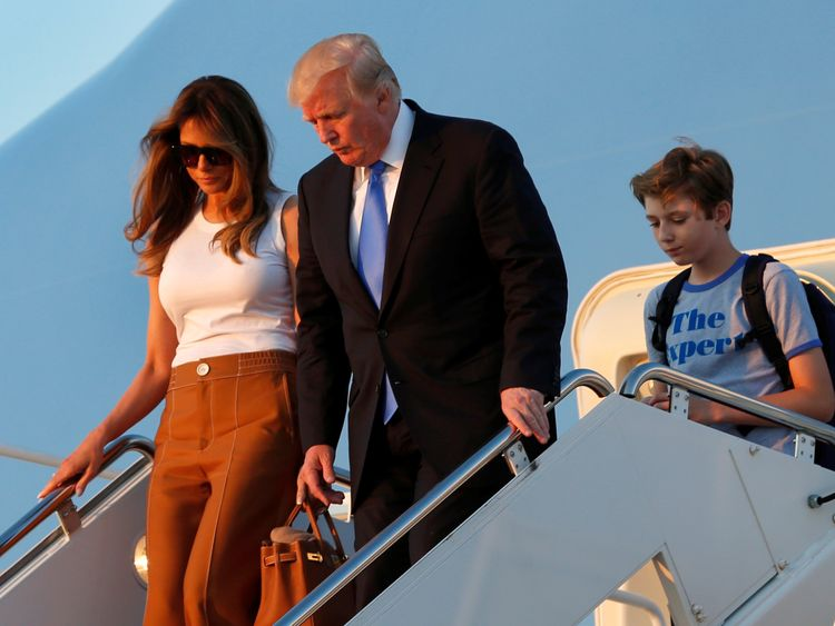 The First Family arrive at Joint Base Andrews before travelling on to the White House