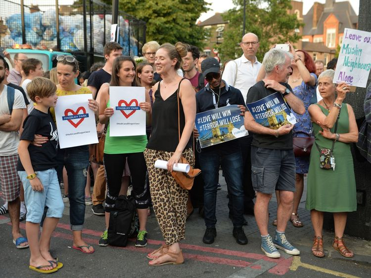 Large crowds took part in a vigil close to the Finsbury Park Mosque in north London
