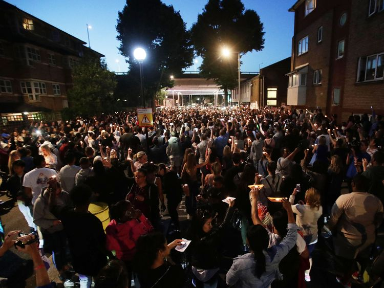 Hundreds of people joined a vigil outside Latymer Church