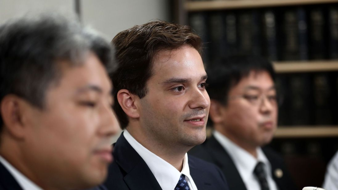 Mark Karpeles speaks during a press conference after his first hearing in Tokyo on July 11, 2017.