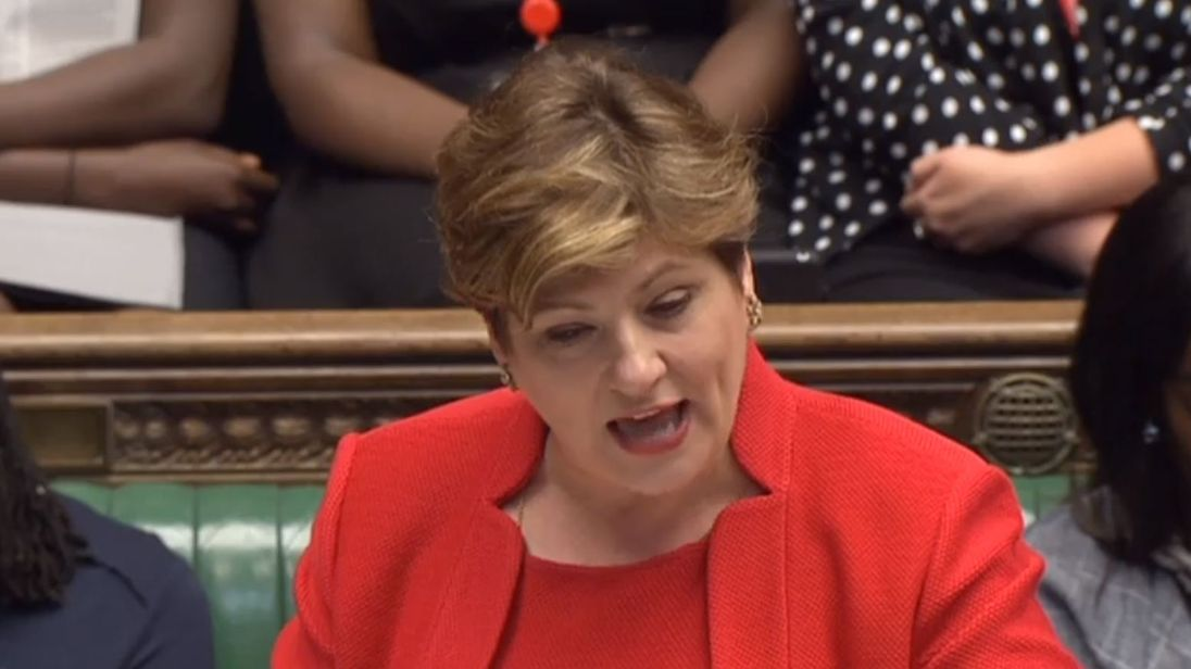 Shadow foreign secretary Emily Thornberry speaks during Prime Minister's Questions in the House of Commons, London.