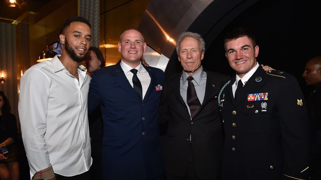 CULVER CITY, CA - JUNE 04: (L-R) Honorees Anthony Sadler and Airman First Class Spencer Stone, actor/director Clint Eastwood, and honoree Specialist Alek Skarlatos attend Spike TV's 10th Annual Guys Choice Awards at Sony Pictures Studios on June 4, 2016 in Culver City, California. (Photo by Mike Windle/Getty Images for Spike TV)
