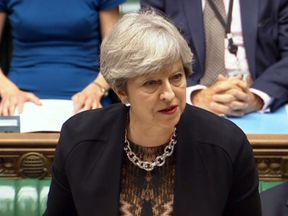 Theresa May makes a statement to MPs in the House of Commons following the G20