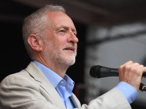 Labour leader Jeremy Corbyn addresses an anti-austerity rally in London