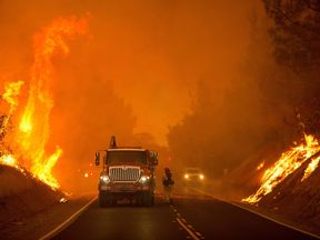 Firefighters battle through Oroville, California in Oroville