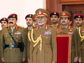 Oman's Sultan Qaboos bin Said attends a military parade in the capital Muscat, marking the Sultanates 46th National Day, on November 18, 2016