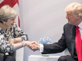 US President Donald Trump and Prime Minister Theresa May at the G20 in Hamburg