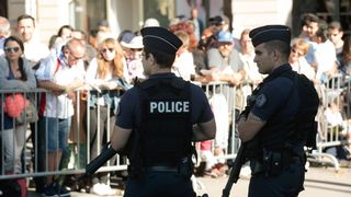 Police on duty at the Bastille Day parade