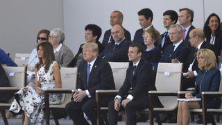 Melania Trump, Donald Trump, Emmanuel Macron and Brigitte Macron