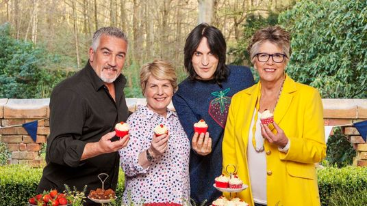 The new Bake Off line-up for Channel Four - Noel Fielding, Sandi Toksvig, Prue Leith and Paul Hollywood