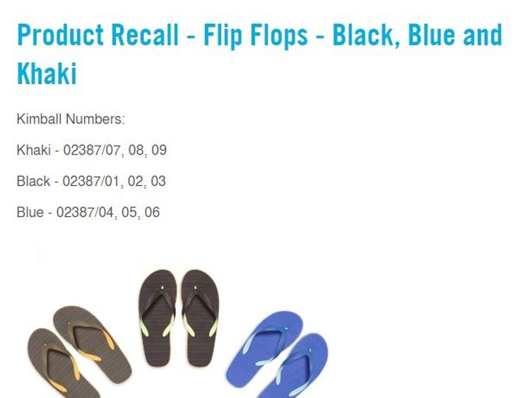 The product recall from the help section of the Primark website