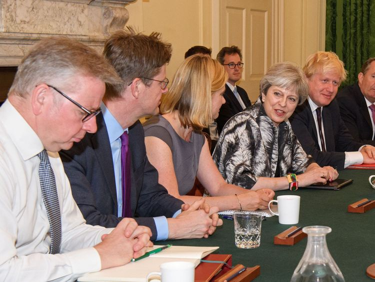Theresa May holds the first meeting of her new Cabinet