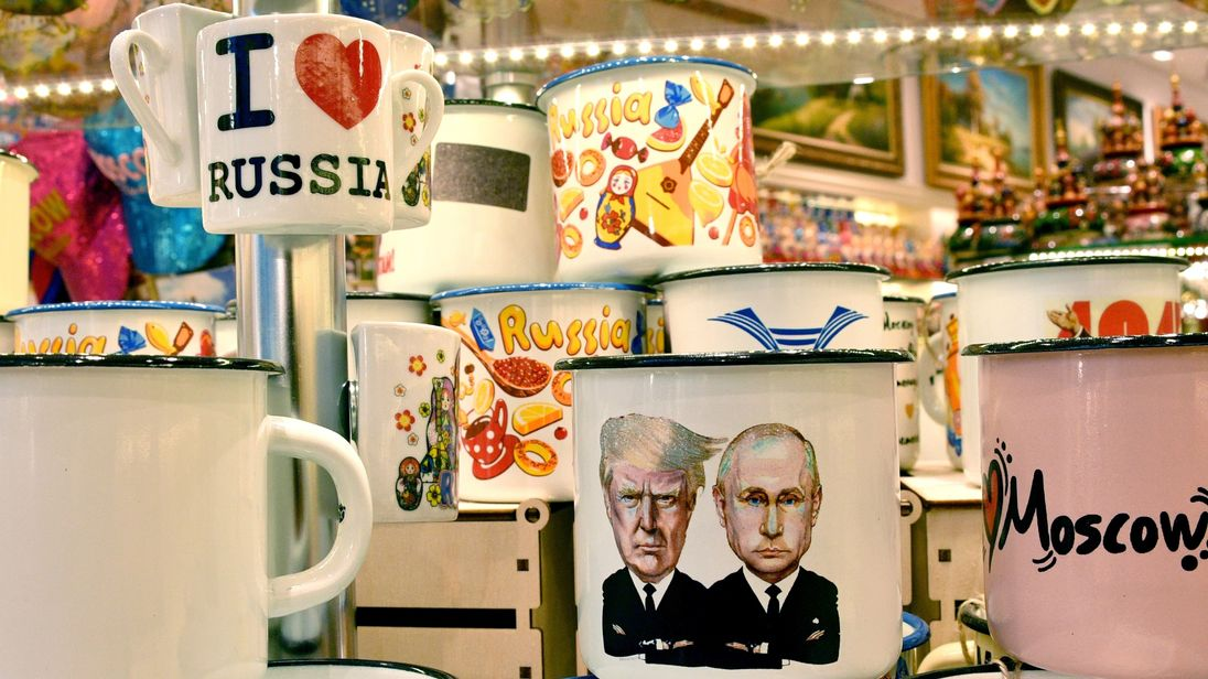 souvenir shops offering among others cup a tin mug depicting Russian President Vladimir Putin and US President Donald Trump, in Moscow