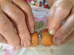 An 84-year-old found her lost engagement ring - which had been missing for 13 years - with a carrot growing through it Credit: Sarah Kraus, Global News