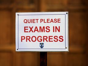 An exam notice as students sit tests at Brighton College in Brighton, East Sussex.