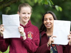 Philippa Kent (left) is going to Hartford College Oxford to study Archaeology and Anthropology and Mirna Elghobashy is going to Birmingham University to study Medicine