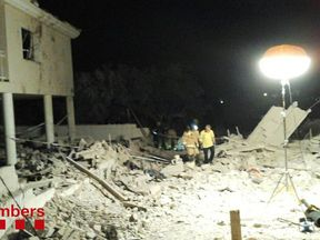 A fire service image of the aftermath of a house explosion in Alcanar on Wednesday