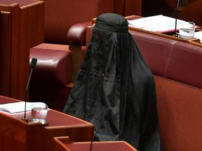 Australian One Nation party leader, Senator Pauline Hanson wears a burqa in the Senate chamber