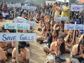 A demonstration to raise awareness of child sex abuse in Hyderabad in 2014