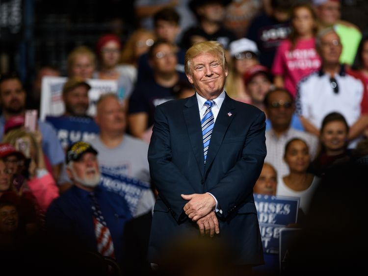 Trump at a rally in Huntingdon, West Virginia