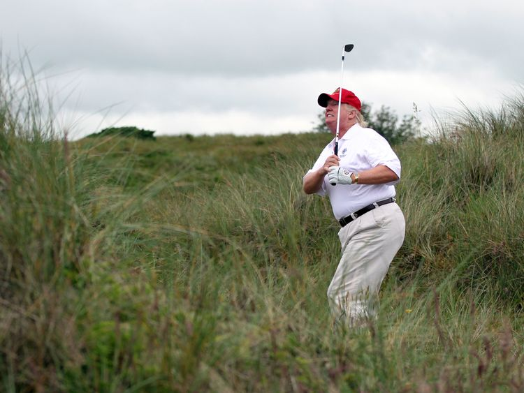 Donald Trump plays golf regularly when he visits his golf clubs