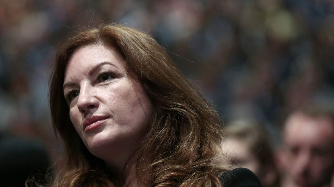 Britain's small business ambassador Karren Brady listens during the keynote speech by Chancellor George Osborne at the annual Conservative Party Conference in Manchester
