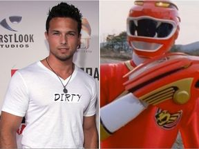 Ricardo Medina (L) and as the Red Ranger