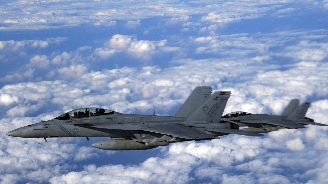 US Navy F/A-18 Super Hornets are seen fro