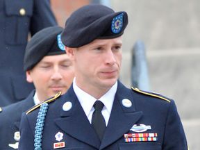 Bergdahl leaves the Ft. Bragg military courthouse with his legal team after a pretrial hearing on May 17, 2016 in Ft. Bragg, North Carolina