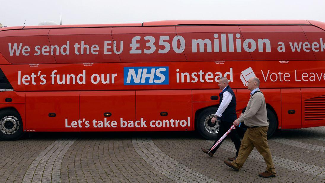 The Vote Leave campaign bus in Truro, Cornwall