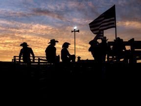 Cowboys at a rodeo in Woodstock, Virginia