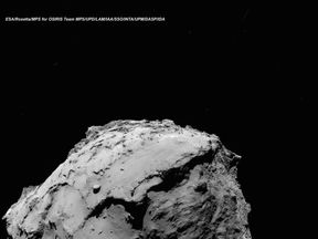 The comet 67P/ChuryumovGerasimenko. The Rosetta orbiter is expected to crash land in an area in the lower left of the image. Pic: ESA