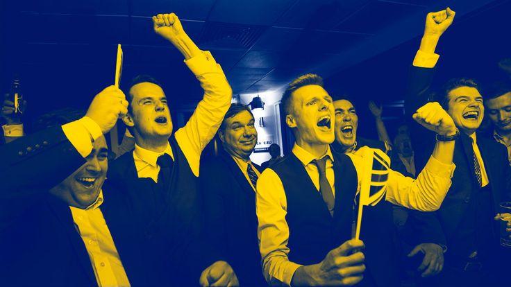 Leavers celebrate the UK referendum result
