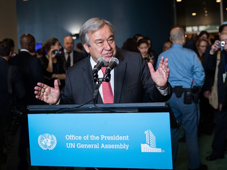 M Guterres at the UN headquarters after his appointment was confirmed