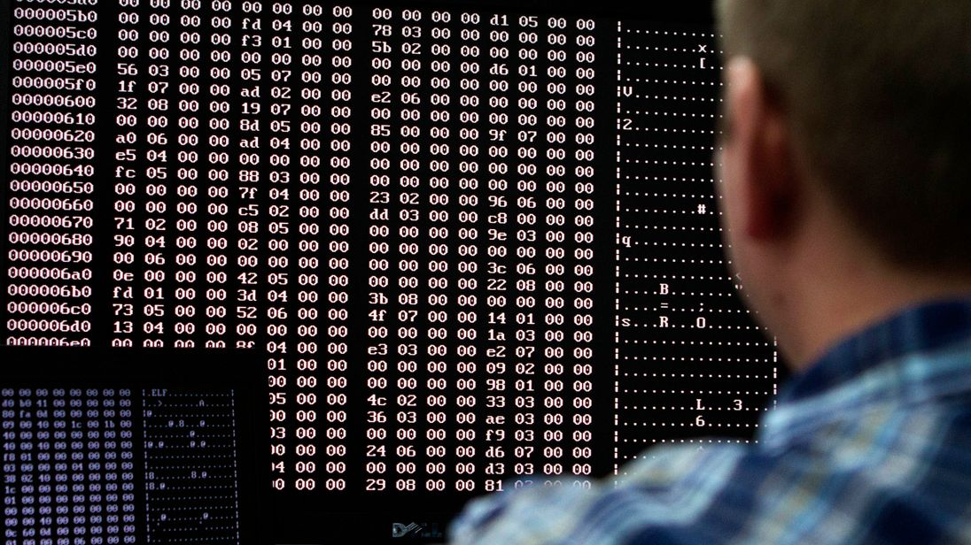 An analyst looks at code in the malware lab of a cyber security defense lab at the Idaho National Laboratory in Idaho Falls, Idaho September 29, 2011. REUTERS/Jim Urquhart