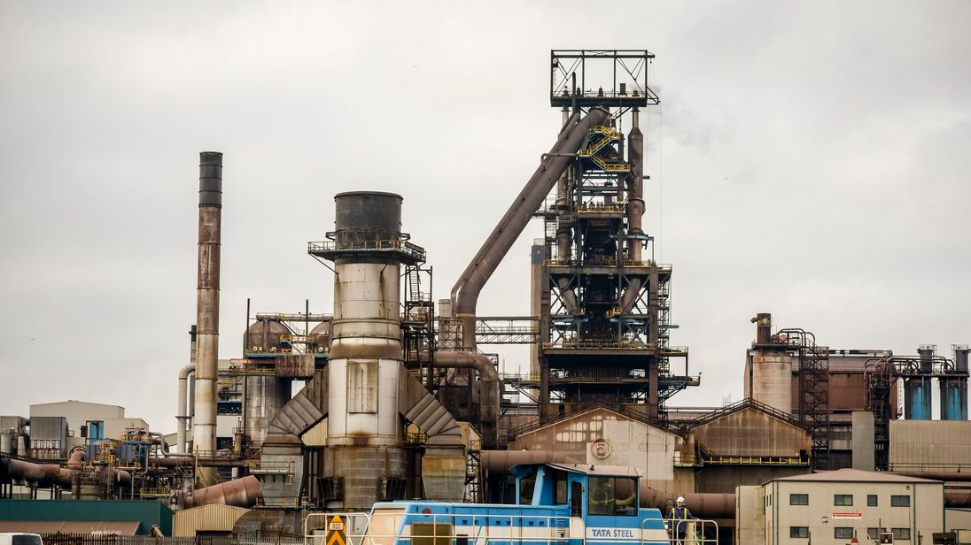 Tata steel plant in Port Talbot