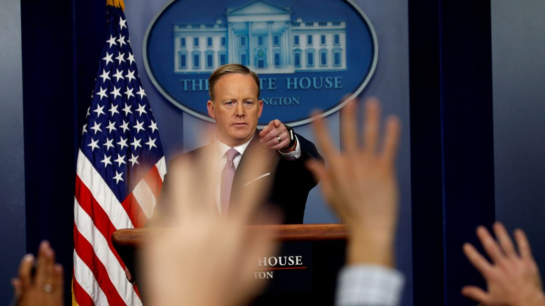 White House Press Secretary Sean Spicer takes questions from reporters