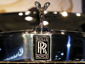 A Rolls-Royce logo is seen on a Rolls-Royce Phantom