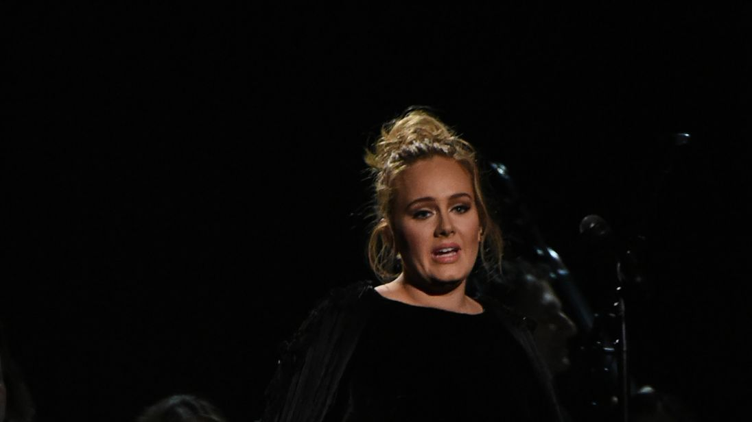 Adele restarts her George Michael tribute act at the Grammys. Pic: Getty