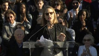 """Oscar-winning actress Jodie Foster told demonstrators it is """"our time to resist"""" as she joined a rally opposing US president Donald Trump's proposed travel ban, two days before the Academy Awards."""