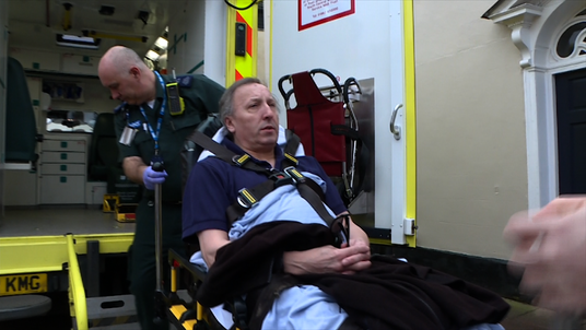 One man is taken to hospital after collapsing at his doctor's surgery.