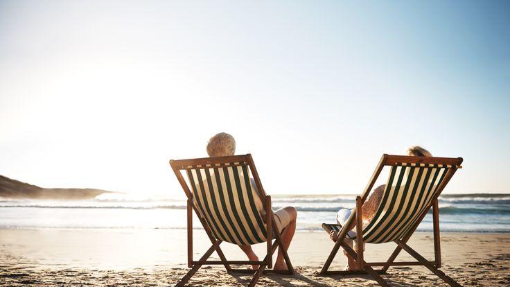 Pensioners enjoying the beach